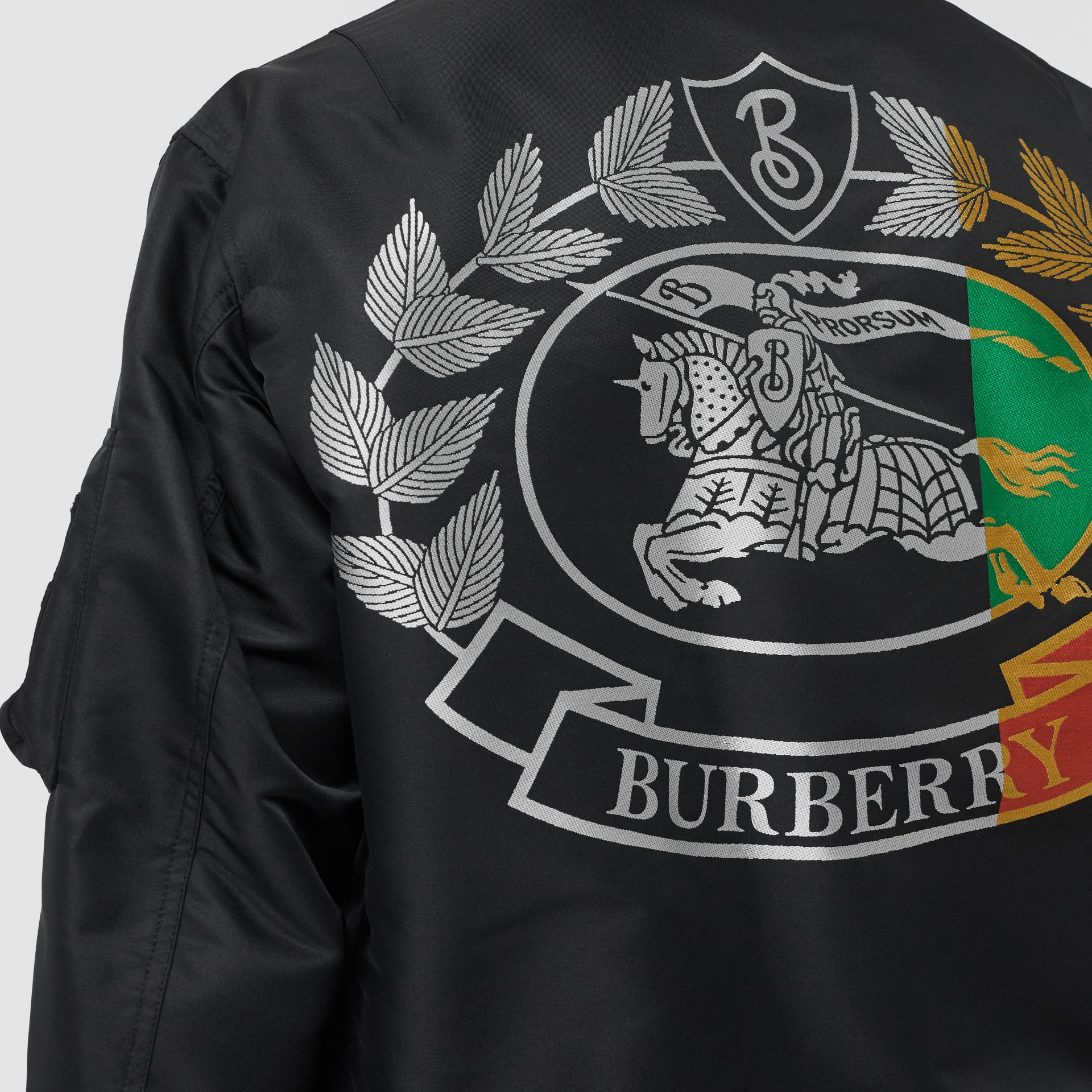 Crest Print Bomber Jacket in Black - Men | Burberry - gallery image 4