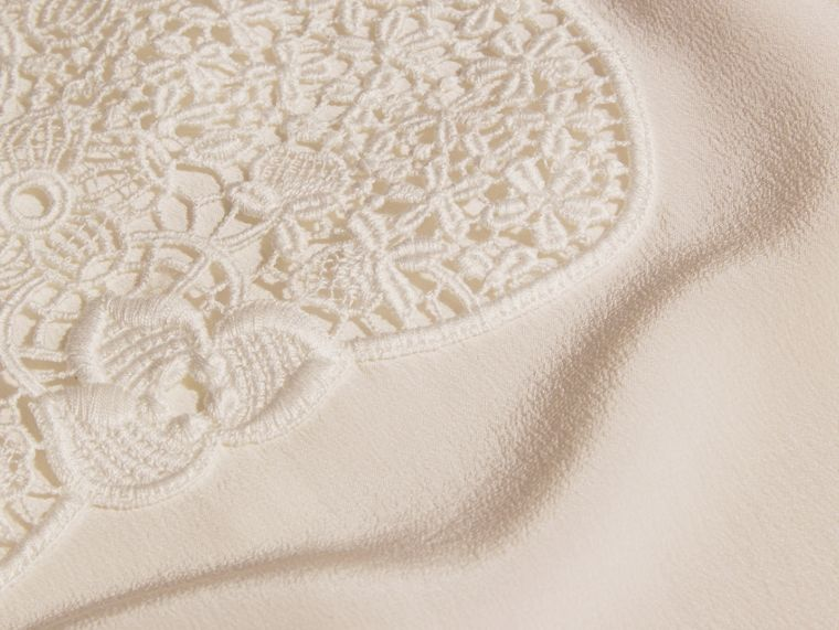 White Lace Panel Silk Top White - cell image 1