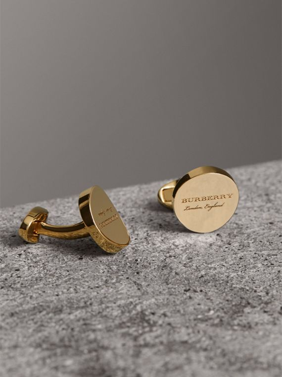 Engraved Motif Round Cufflinks in Light Gold