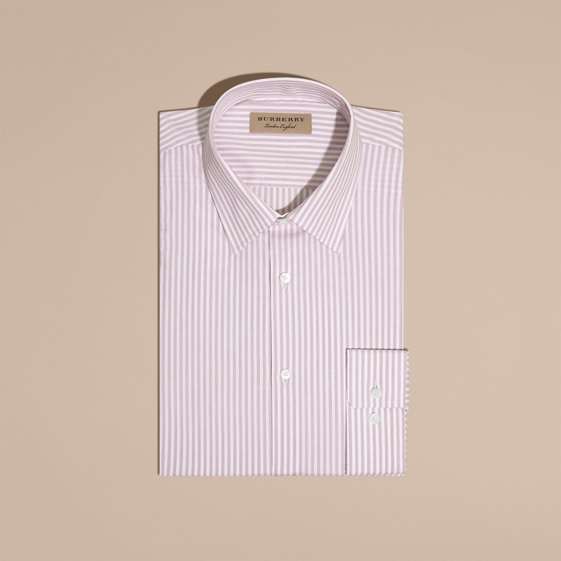 Heather Modern Fit Striped Cotton Shirt Heather - gallery image 4