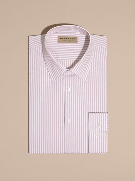 Modern Fit Striped Cotton Shirt Heather