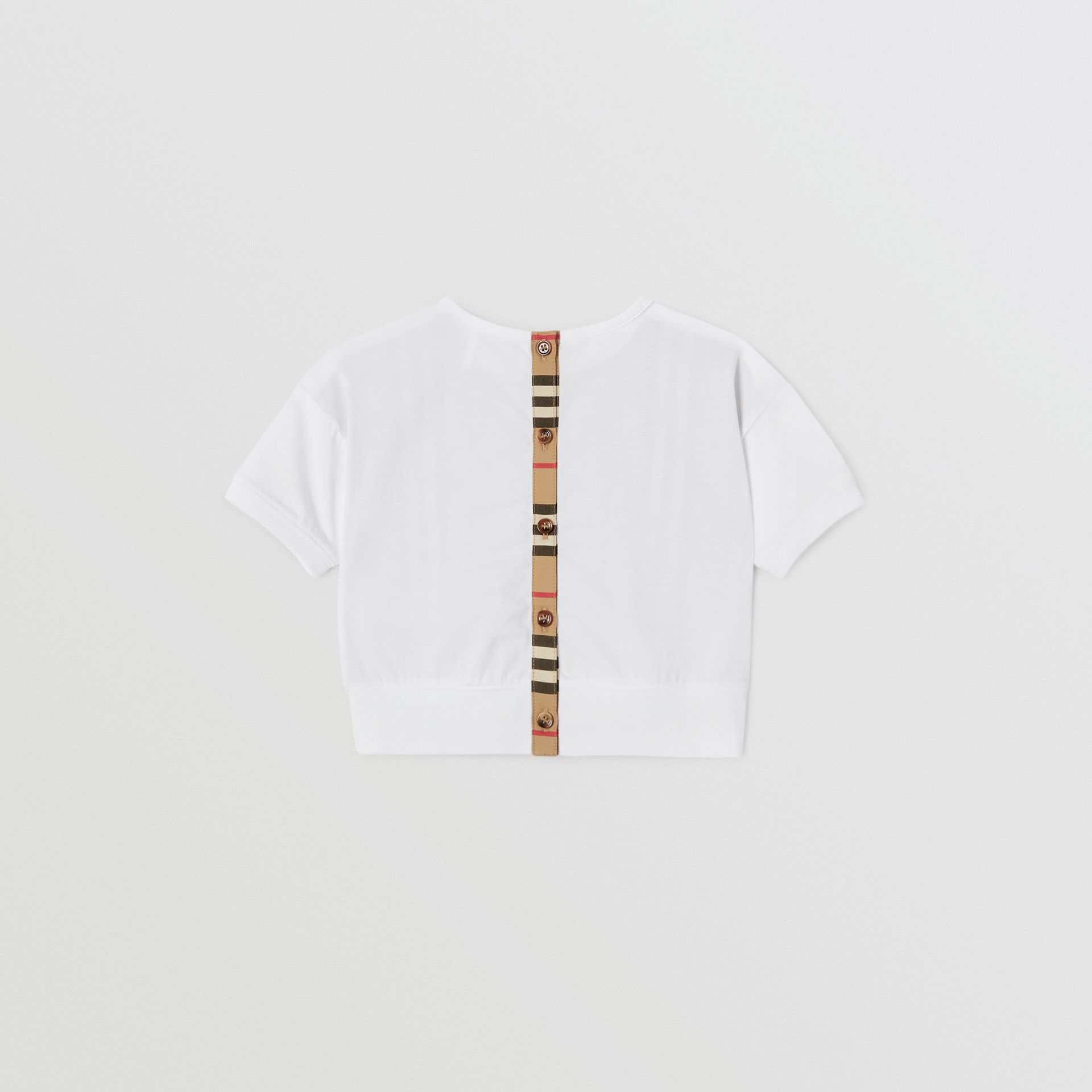 Icon Stripe Panel Cotton T-shirt in White - Children | Burberry United Kingdom - gallery image 3