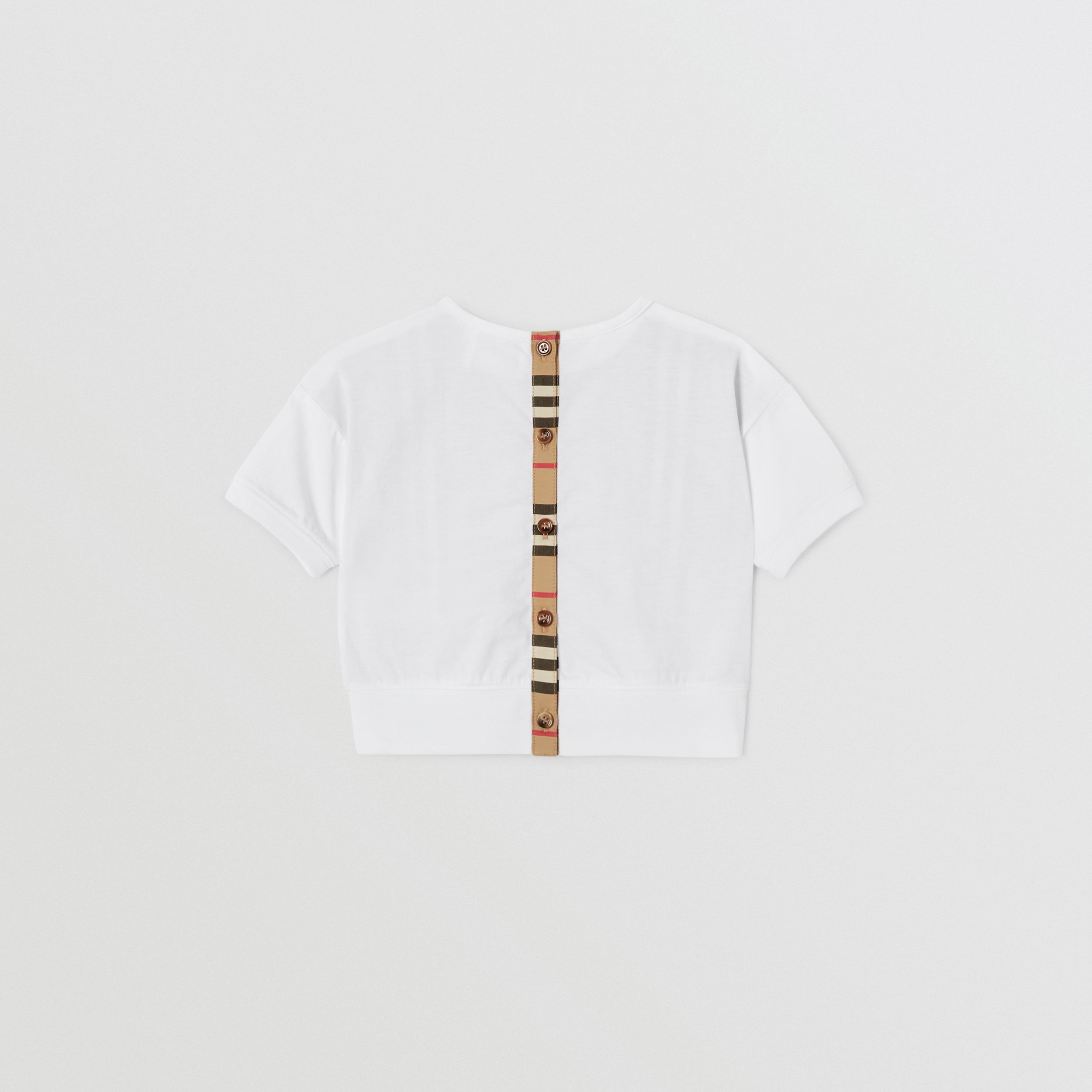 Icon Stripe Panel Cotton T-shirt in White - Children | Burberry - 4