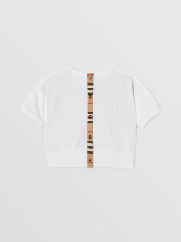 Icon Stripe Panel Cotton T-shirt in White - Children | Burberry United Kingdom - cell image 3