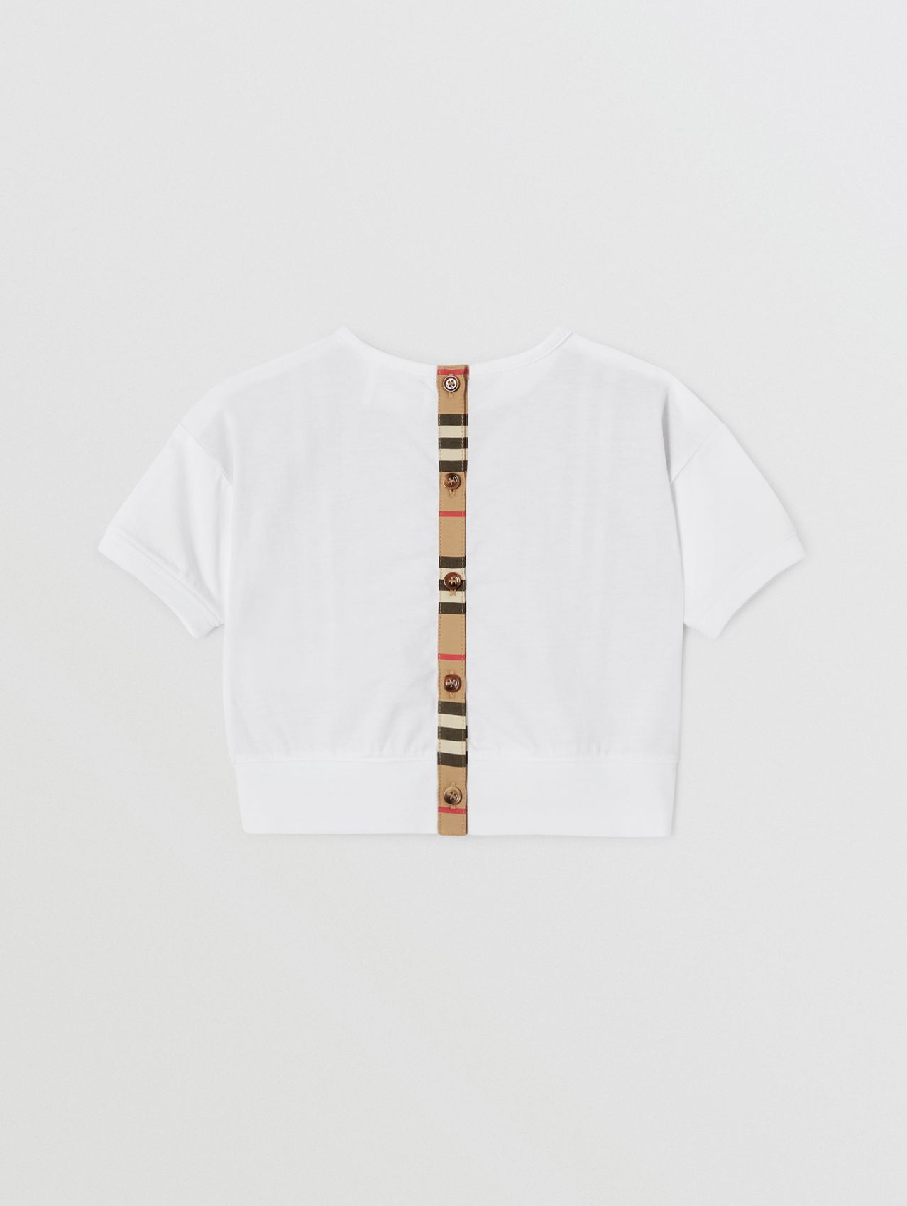 Icon Stripe Panel Cotton T-shirt (White)