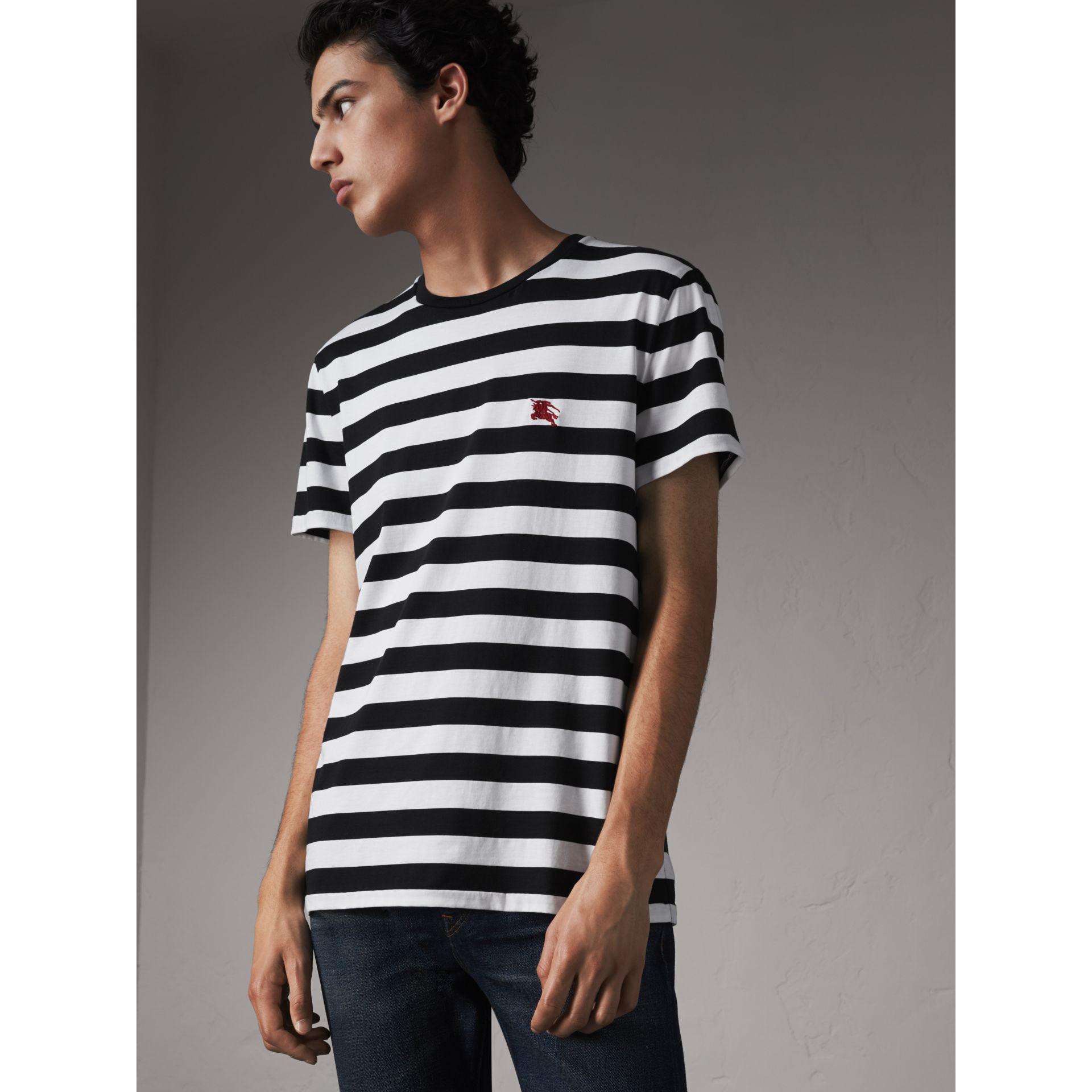 Striped Cotton T-Shirt in Black/white - Men | Burberry - gallery image 5