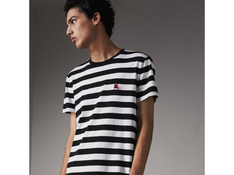 Striped Cotton T-Shirt in Black/white - Men | Burberry - cell image 4