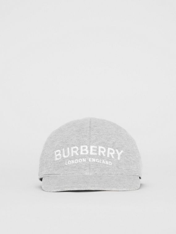 Embroidered Logo Baseball Cap in Light Grey Melange