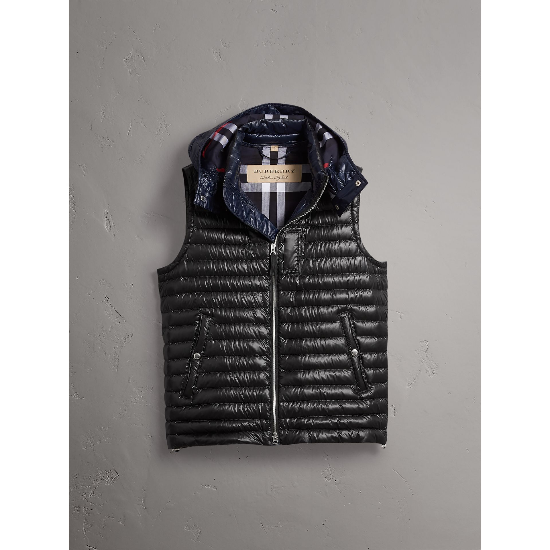 Detachable Hood Packaway Goose-down Gilet in Black - Men | Burberry - gallery image 4