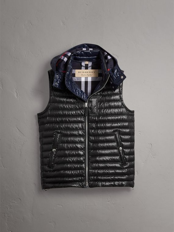 Detachable Hood Packaway Goose-down Gilet in Black - Men | Burberry - cell image 3