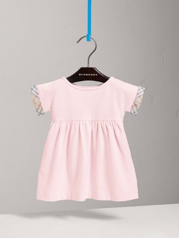 Short-sleeved Cotton Piqué Dress with Check Detail in Powder Pink
