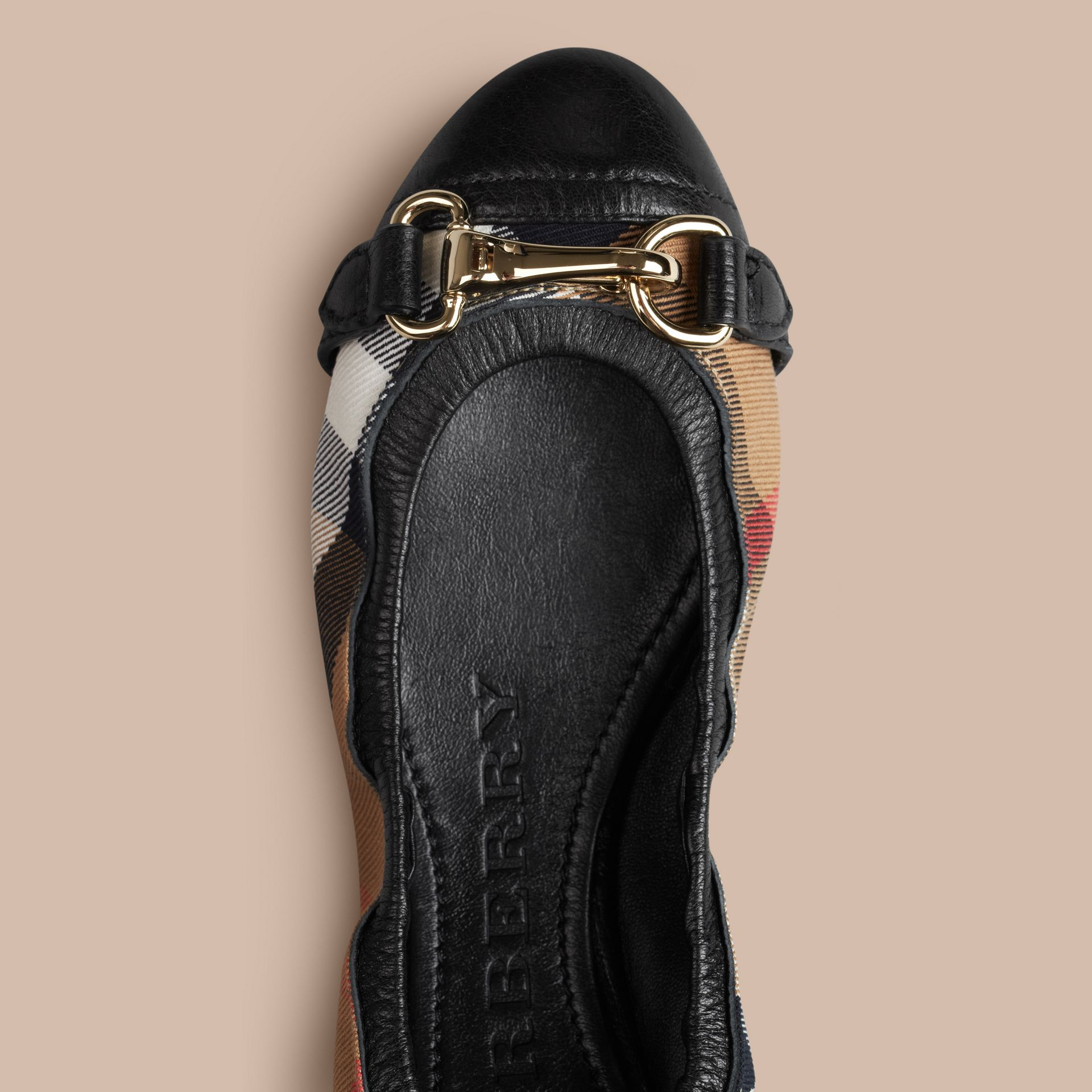 Black Buckle Detail House Check Ballerinas Black - gallery image 3