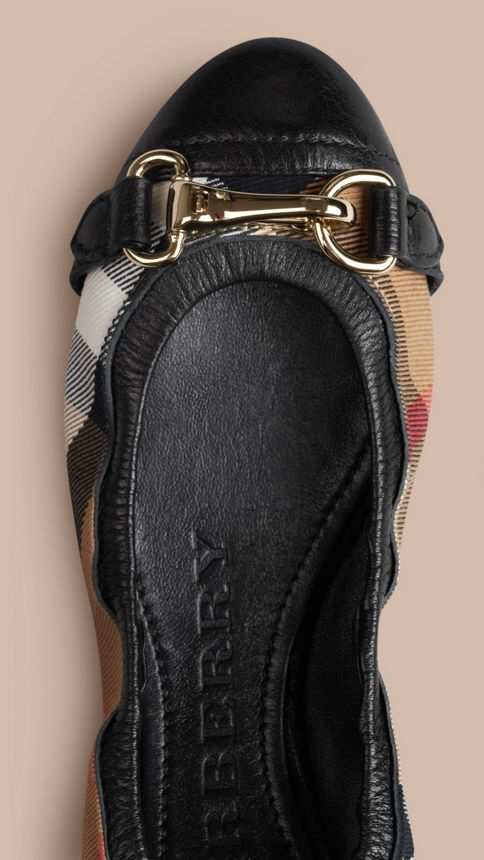 Black Buckle Detail House Check Ballerinas Black - Image 3