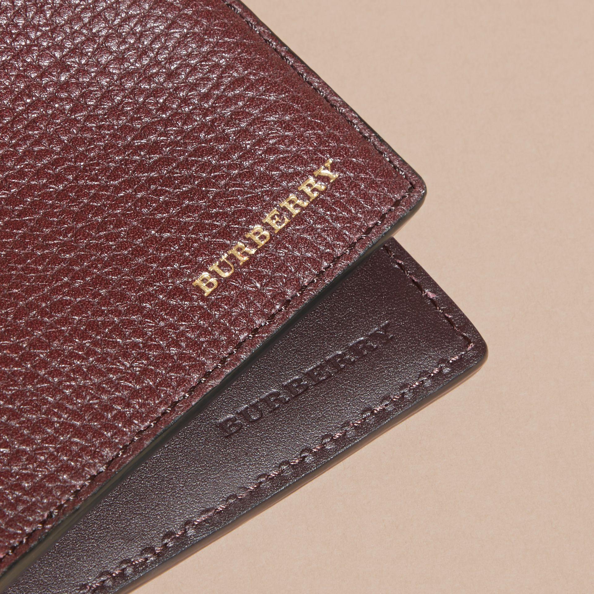 Leather and House Check International Bifold Wallet in Wine - gallery image 4