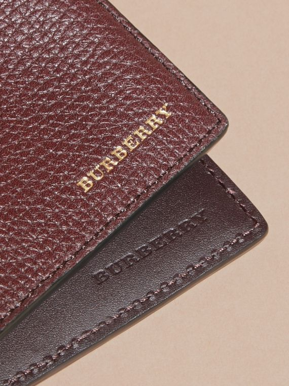 Leather and House Check International Bifold Wallet in Wine | Burberry - cell image 3