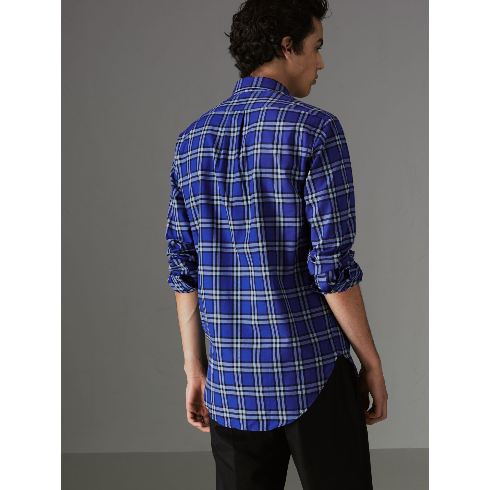 Check Cotton Shirt in Bright Lapis - Men | Burberry - gallery image 2