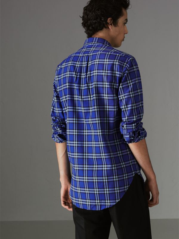 Check Cotton Shirt in Bright Lapis - Men | Burberry United Kingdom - cell image 2