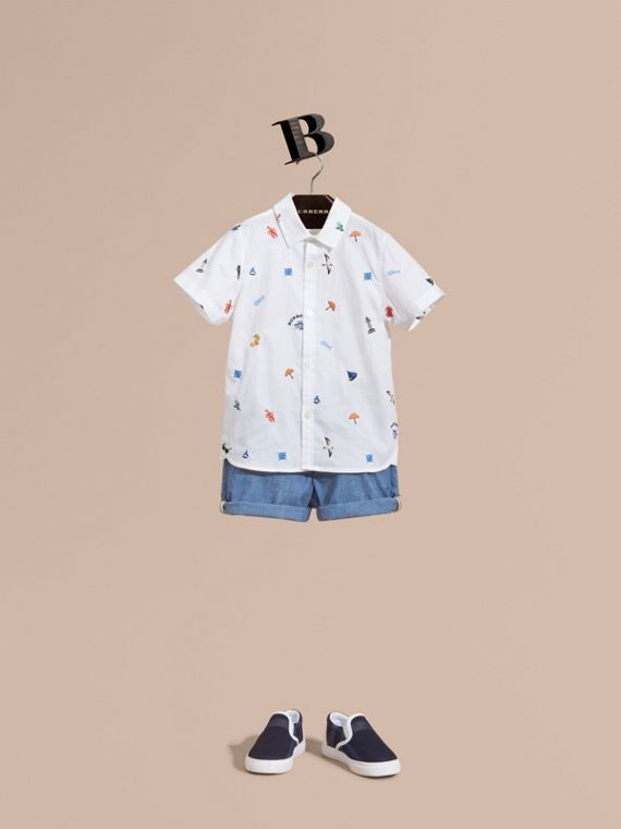 Embroidered Nautical Motif Cotton Oxford Shirt in White - Boy | Burberry