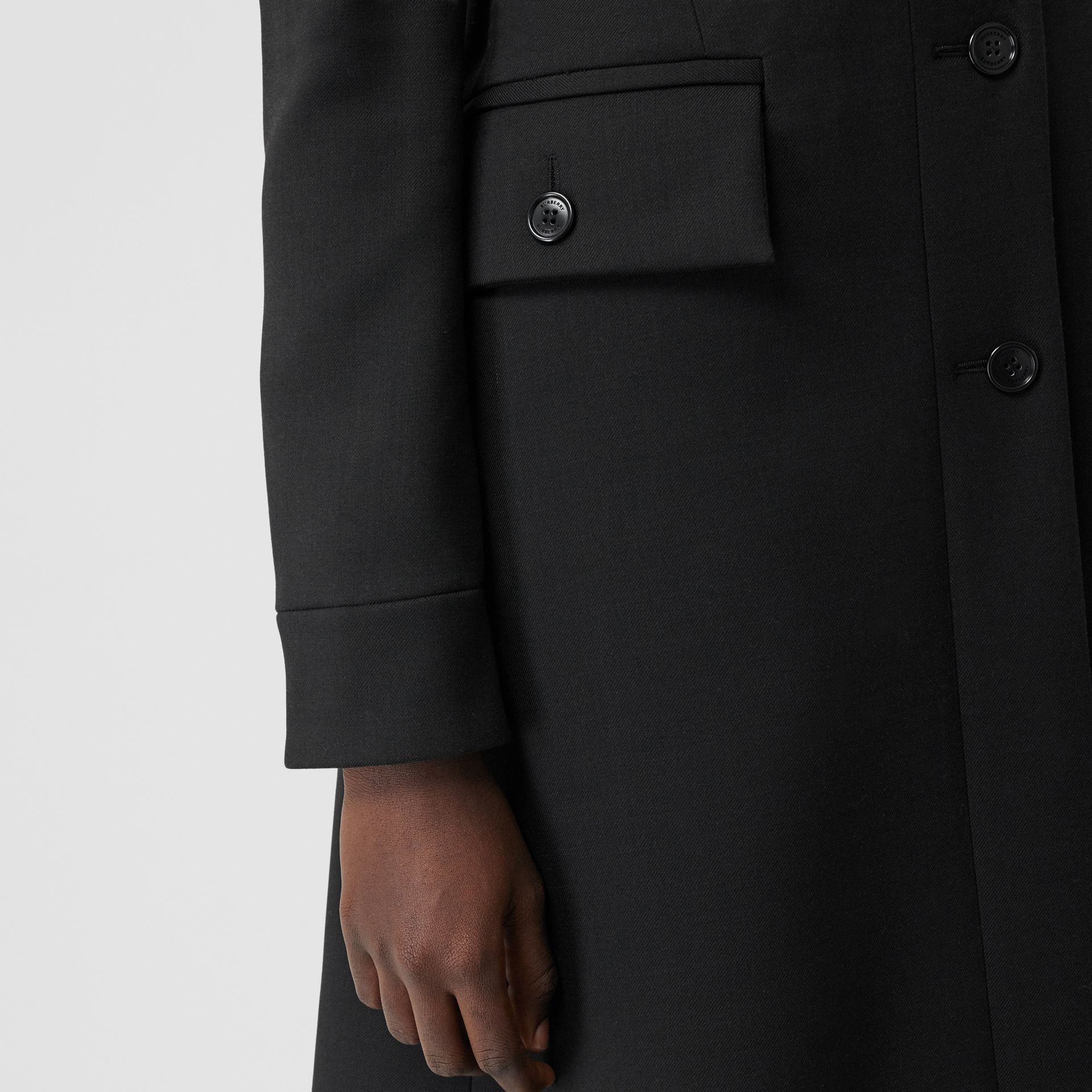 Wool Silk Tailored Coat in Black - Women | Burberry Canada - gallery image 5