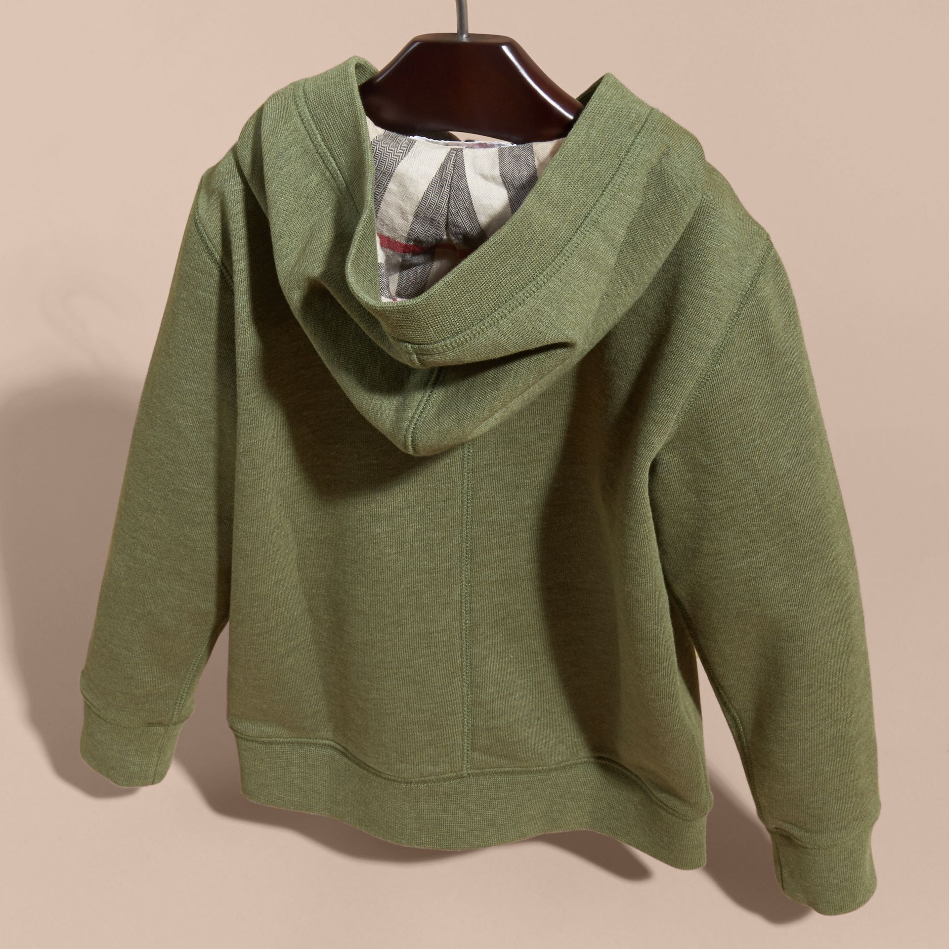 Hooded Cotton Top Khaki Green Melange - gallery image 4