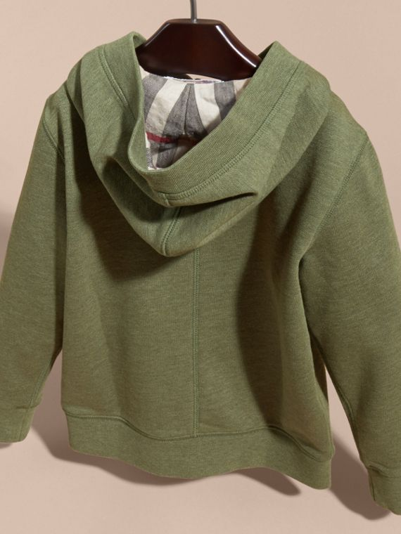 Hooded Cotton Top in Khaki Green Melange - Boy | Burberry - cell image 3