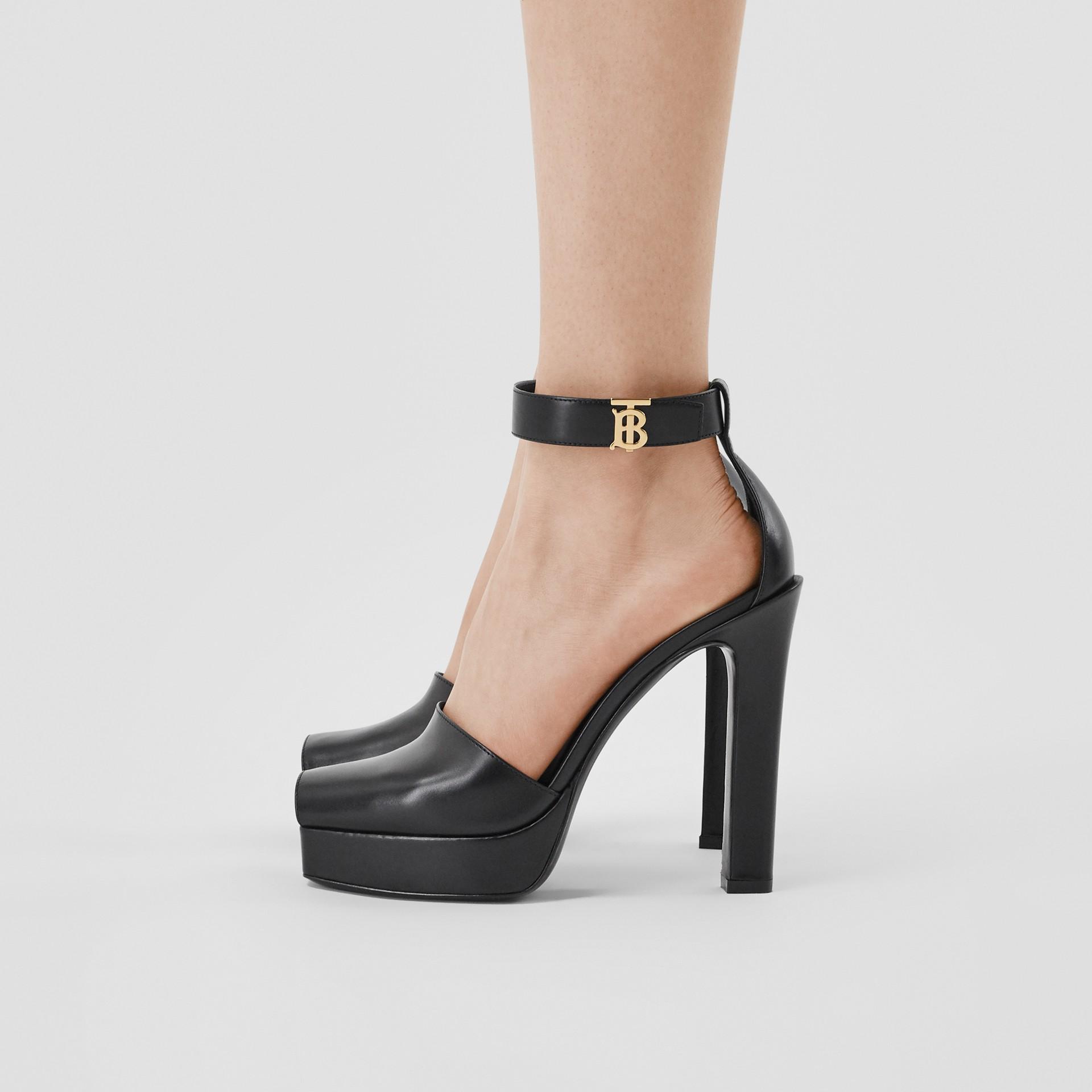 Monogram Motif Leather Peep-toe Sandals in Black - Women | Burberry - gallery image 2