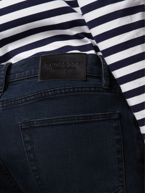 Slim Fit Stretch Denim Jeans in Dark Indigo - Men | Burberry Canada - cell image 1
