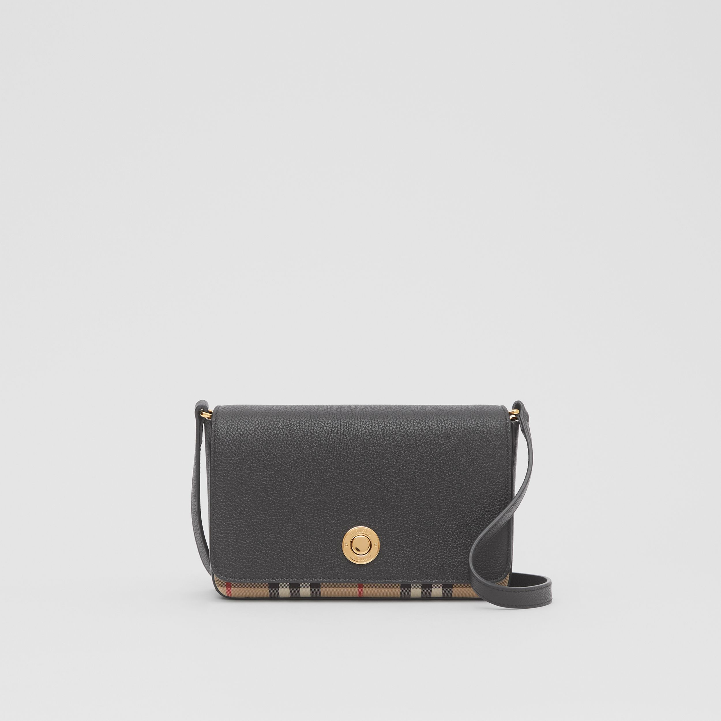 Small Leather and Vintage Check Crossbody Bag in Black - Women | Burberry - 1