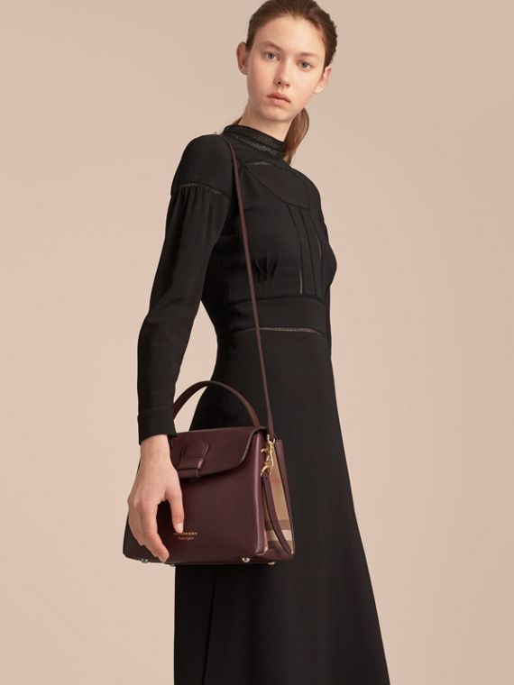Small Grainy Leather and House Check Tote Bag in Mahogany Red - Women | Burberry United Kingdom - cell image 2