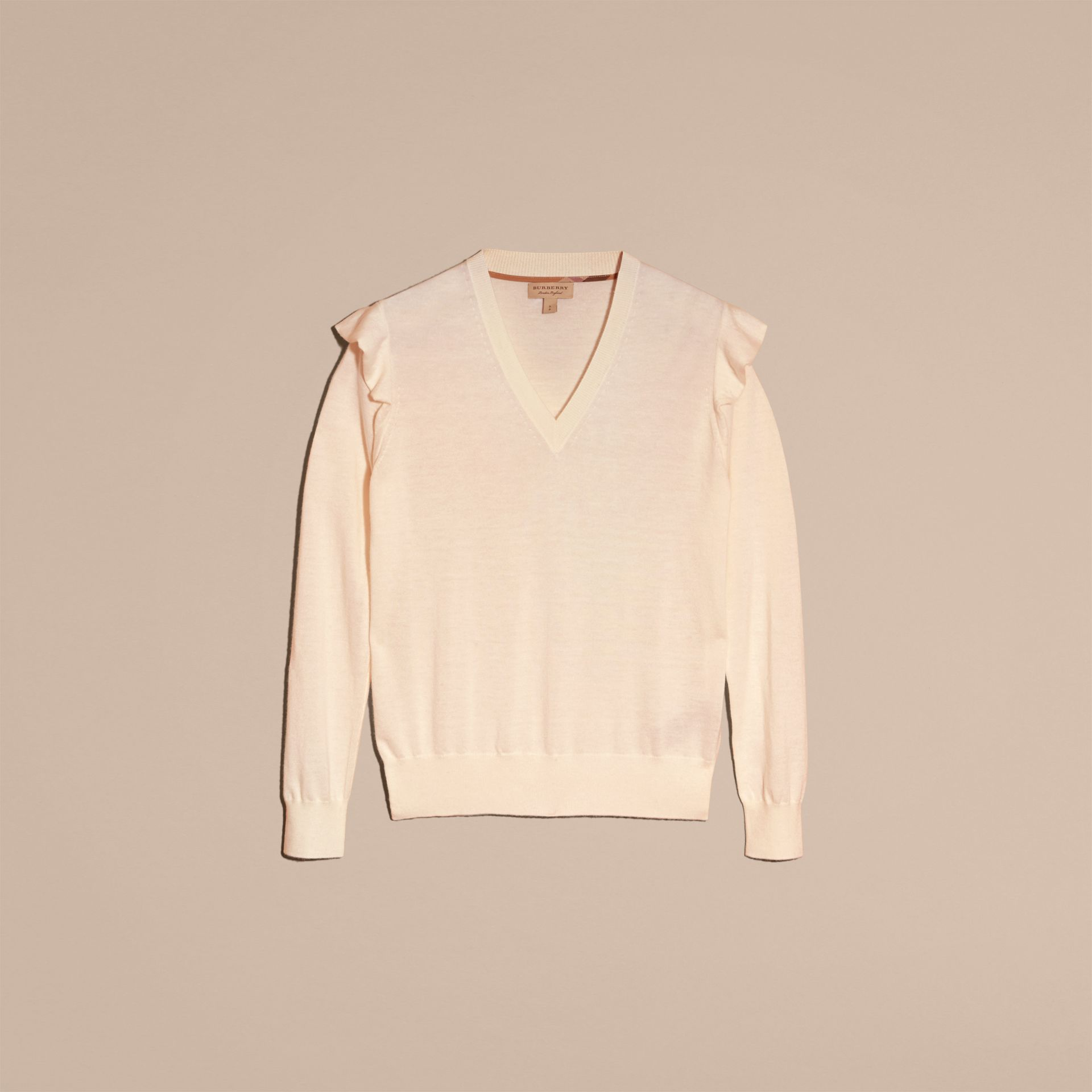 Cashmere Sweater with Frill Sleeves in Natural White - Women | Burberry - gallery image 4