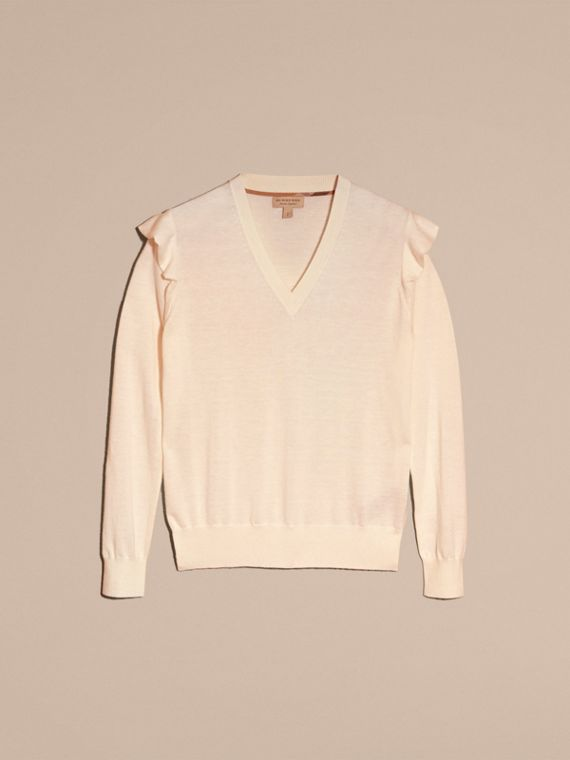 Cashmere Sweater with Frill Sleeves in Natural White - Women | Burberry - cell image 3