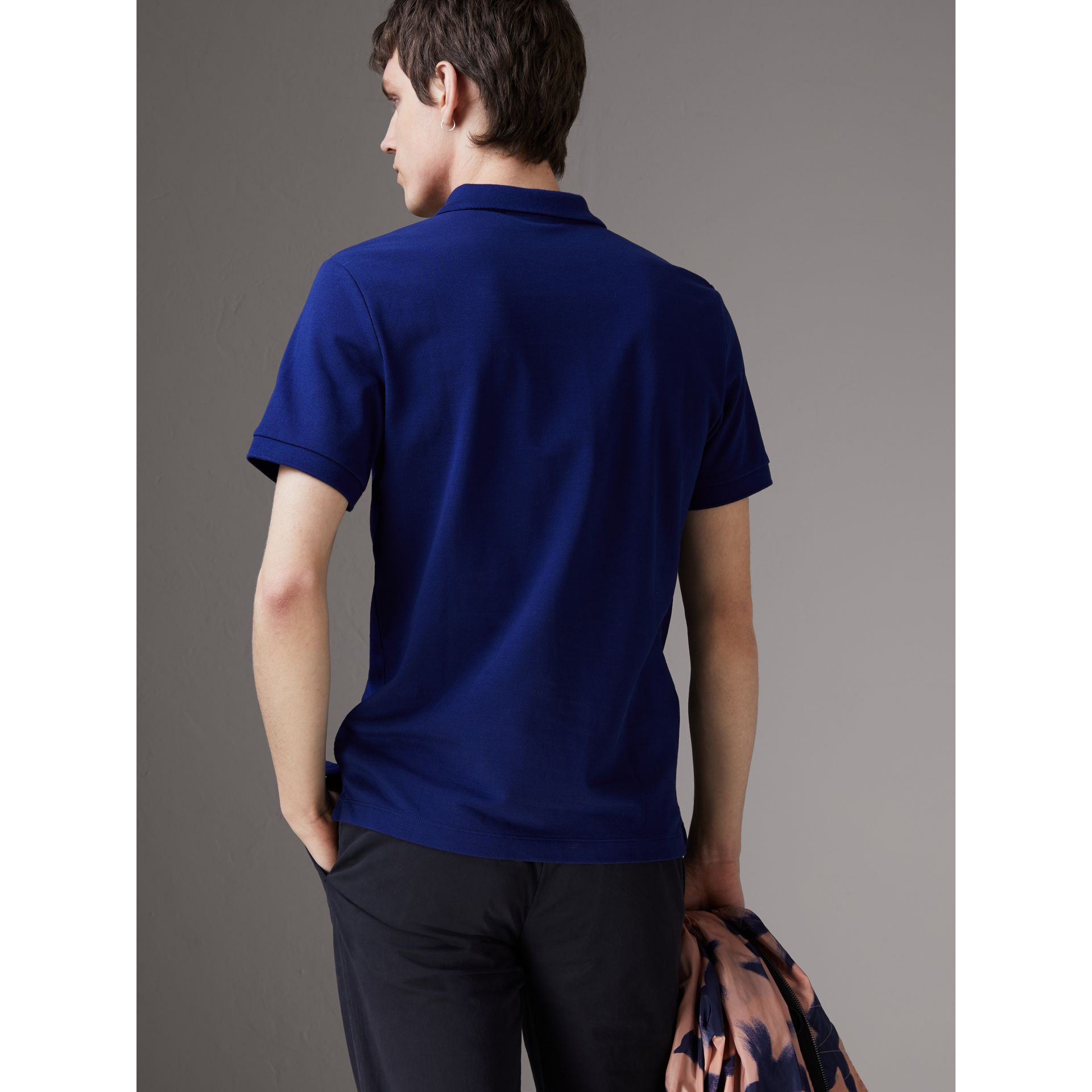 Check Placket Cotton Piqué Polo Shirt in Bright Blue - Men | Burberry - gallery image 2