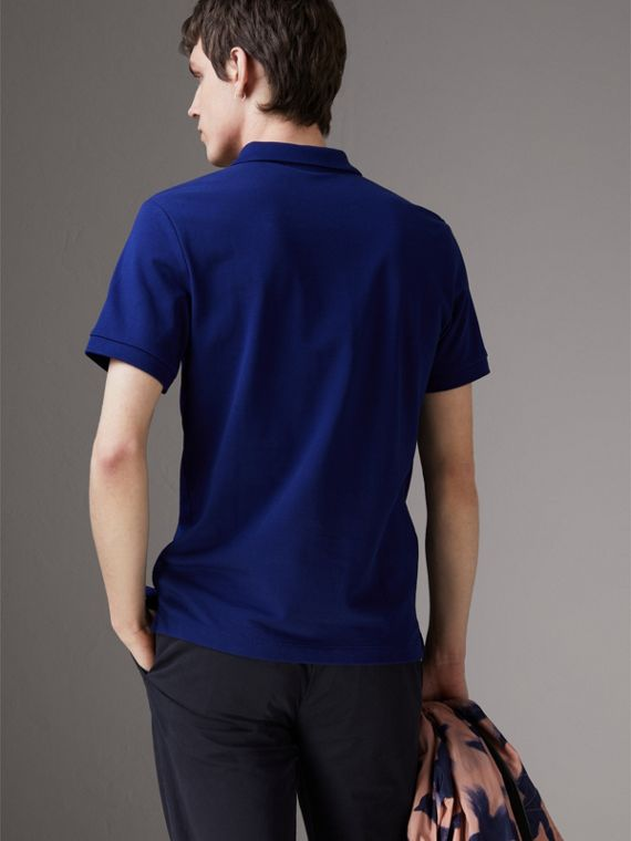 Check Placket Cotton Piqué Polo Shirt in Bright Blue - Men | Burberry - cell image 2