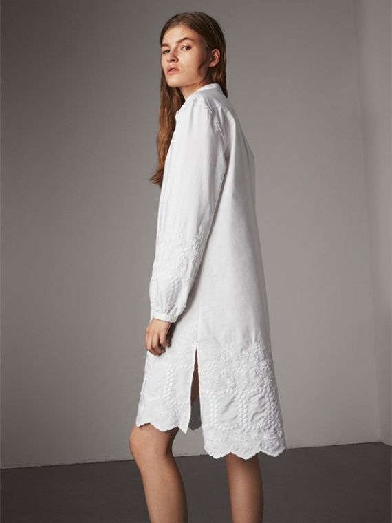 Embroidered Cotton Poplin Shirt Dress in White - Women | Burberry - cell image 2