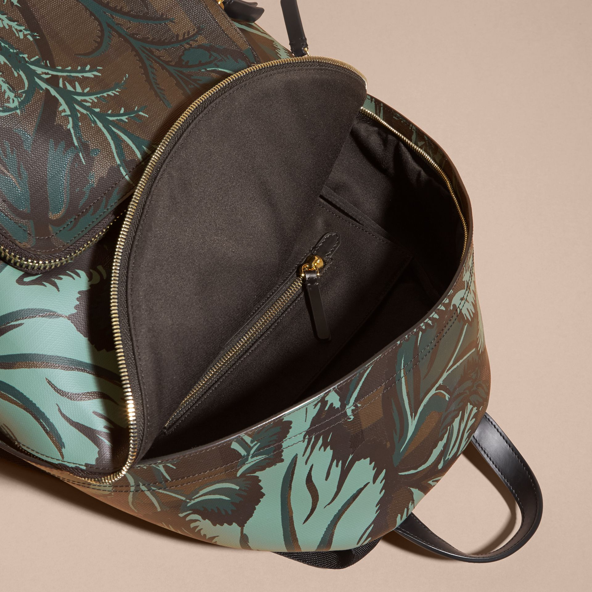 Leather Trim Floral Print London Check Backpack Chocolate - gallery image 5