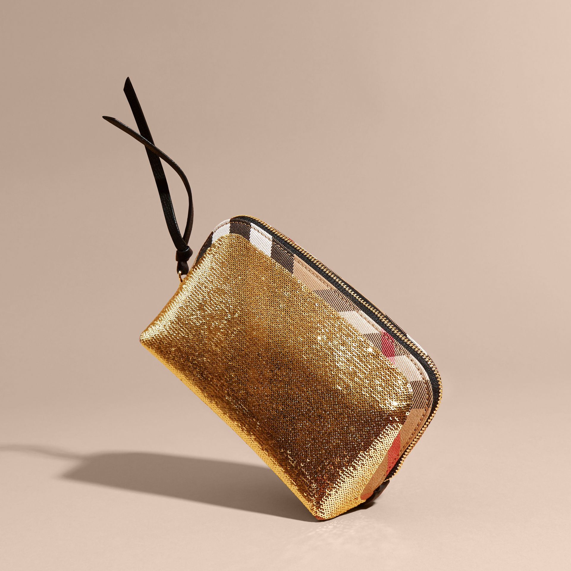 Dorado/negro Neceser grande en lentejuelas y House Checks con cremallera superior Dorado/negro - imagen de la galería 4