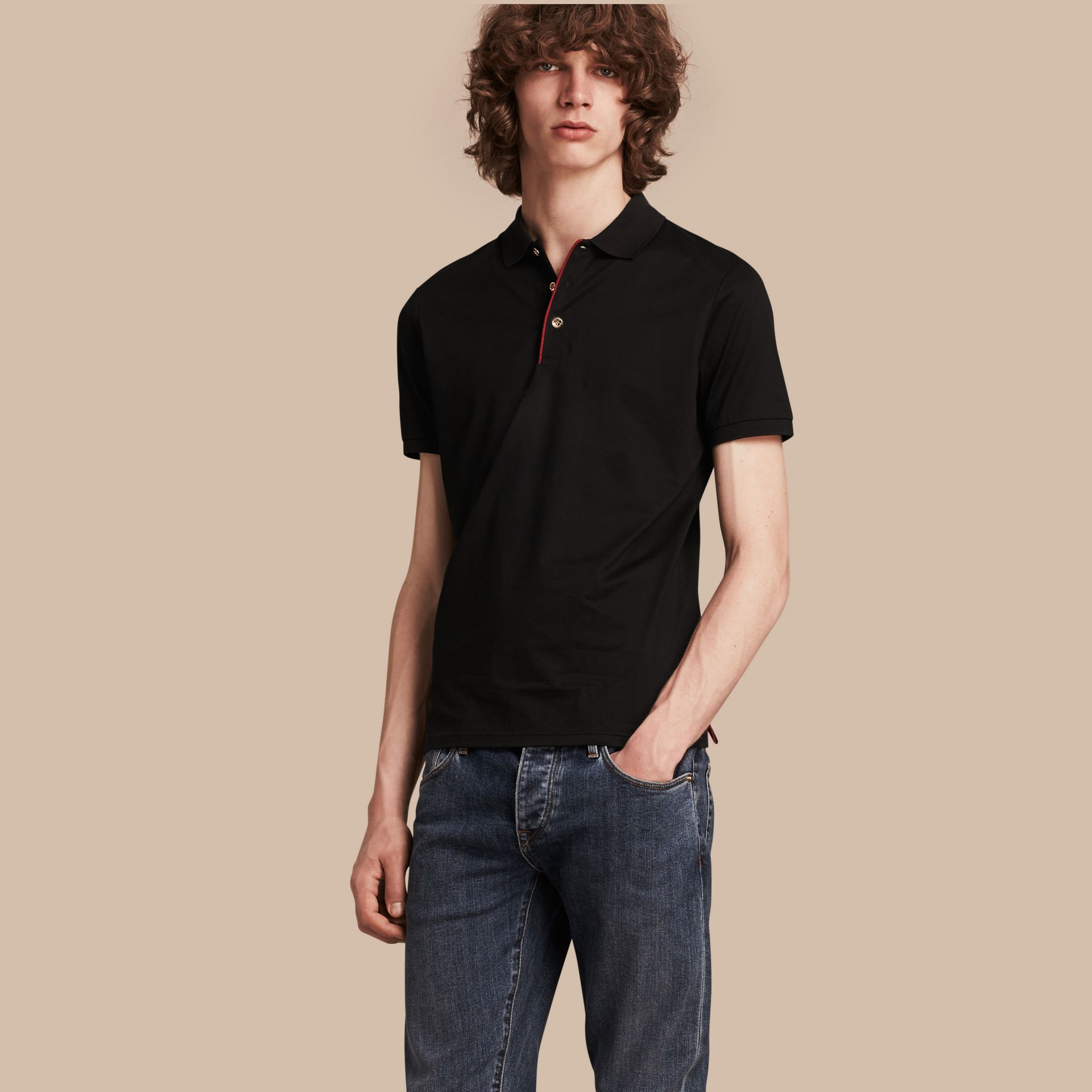 Black Regimental Cotton Polo Shirt Black - gallery image 1