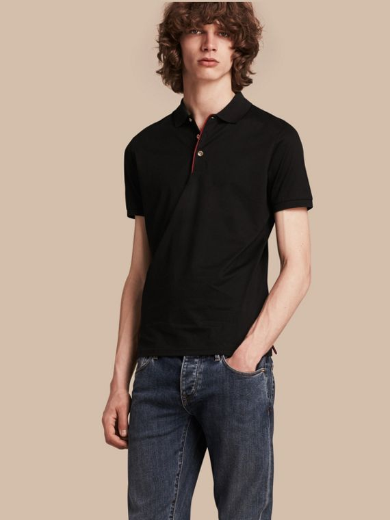 Regimental Cotton Polo Shirt Black