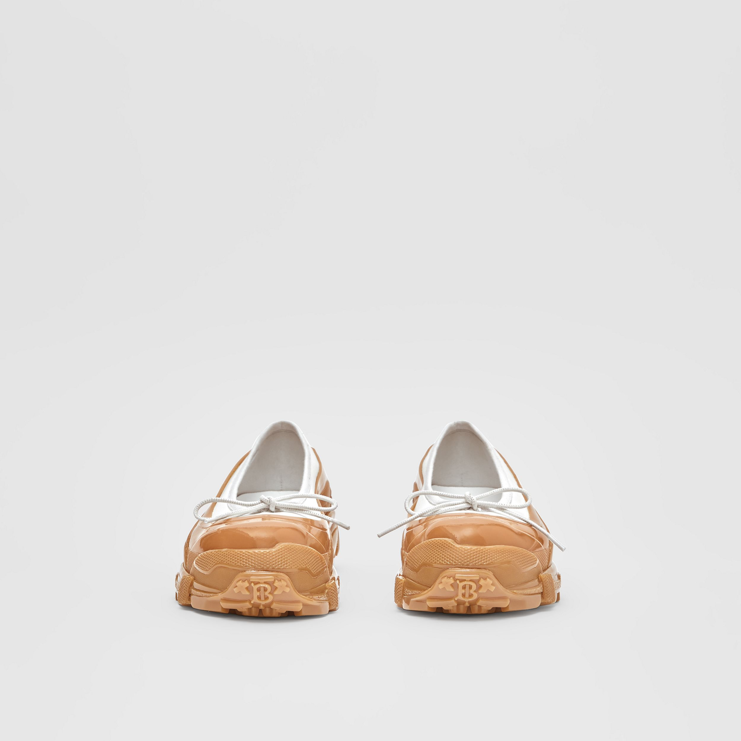 Overshoe Detail Lambskin Flats in White/amber - Women | Burberry - 4