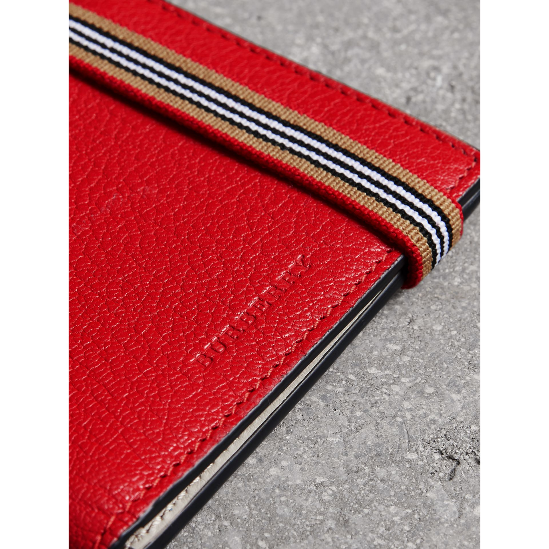 Icon Stripe Leather International Bifold Wallet in Bright Red - Men | Burberry - gallery image 1