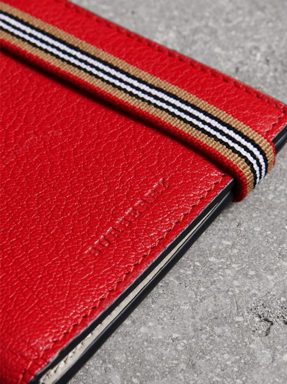 Icon Stripe Leather International Bifold Wallet in Bright Red - Men | Burberry - cell image 1