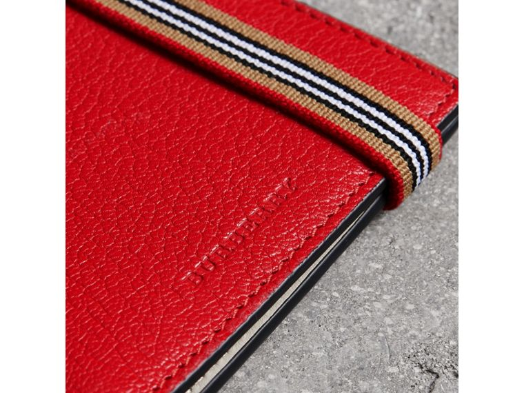 Heritage Stripe Leather International Bifold Wallet in Bright Red - Men | Burberry - cell image 1