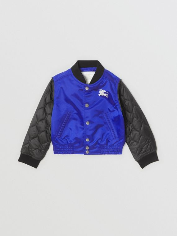Contrast-sleeve Nylon Bomber Jacket in Bright Spectrum Blue