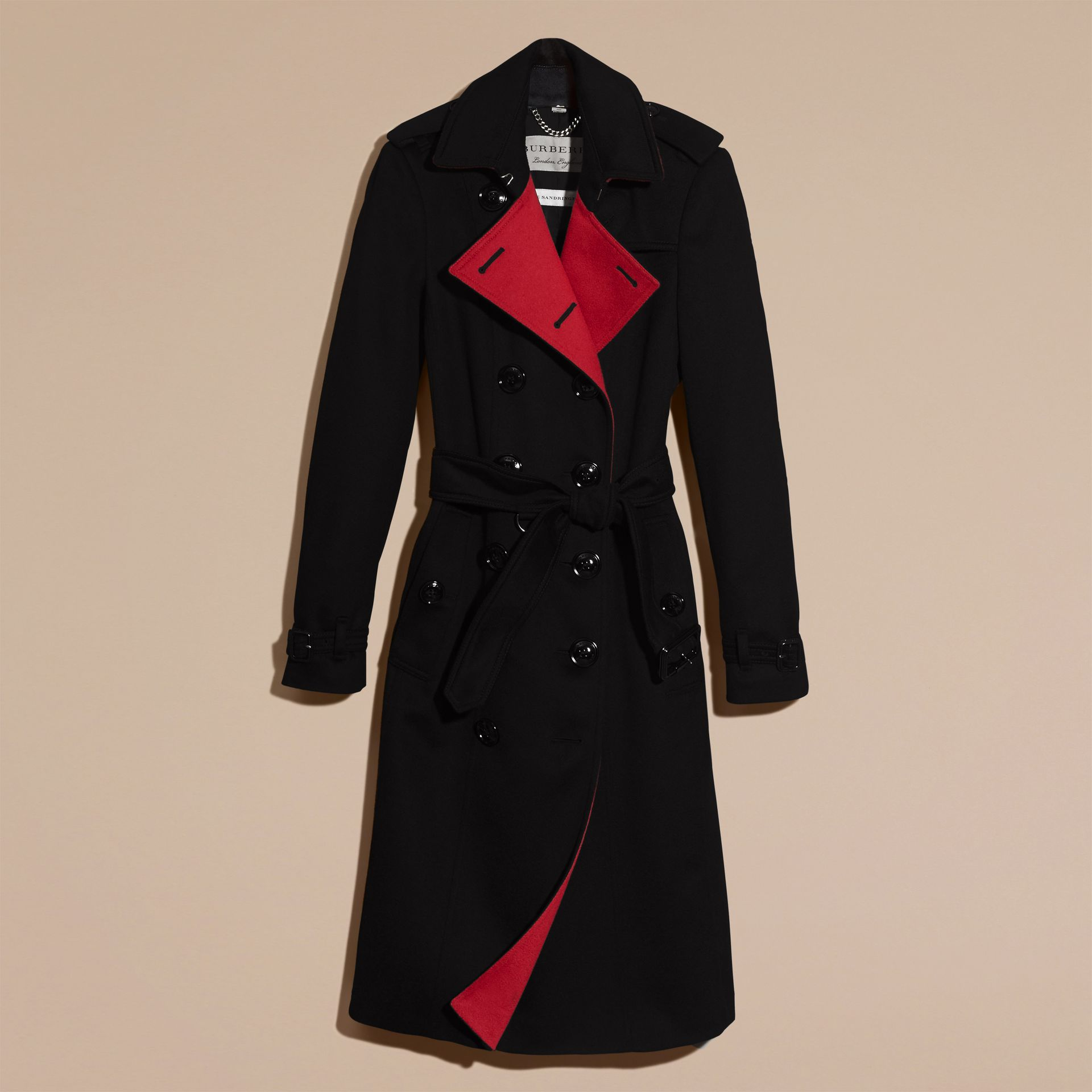 Noir Trench-coat en cachemire de coupe slim - photo de la galerie 5