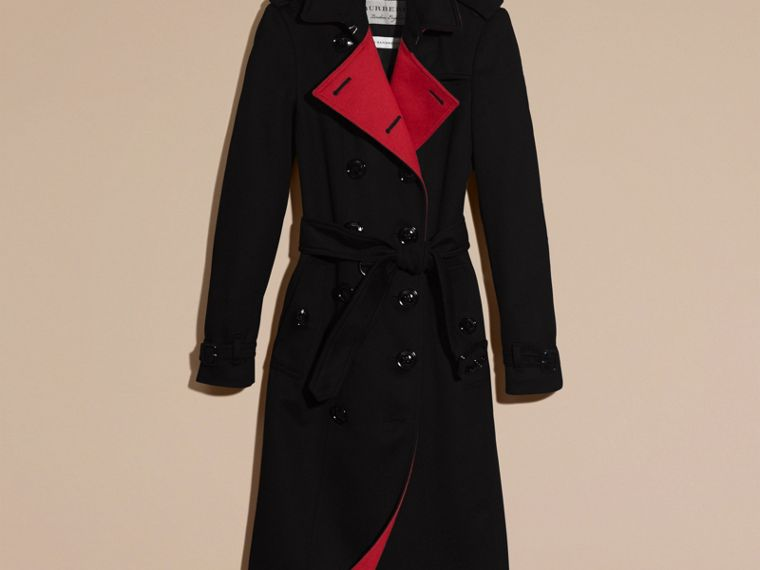 Noir Trench-coat en cachemire de coupe slim - cell image 4