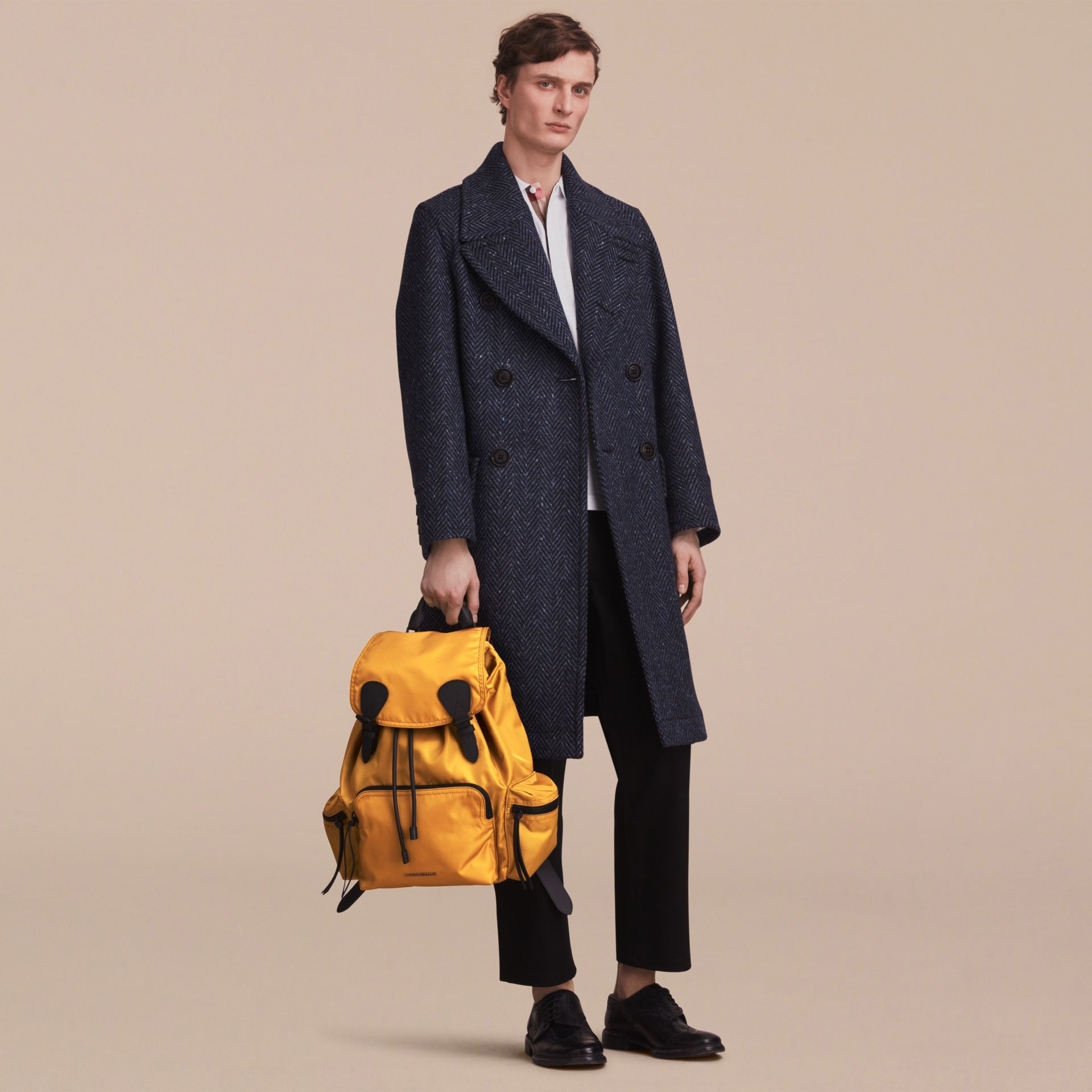 The Large Rucksack in Technical Nylon and Leather in Ochre Yellow - gallery image 3