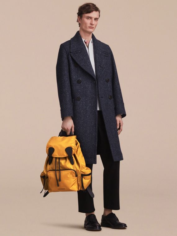 The Large Rucksack in Technical Nylon and Leather in Ochre Yellow - cell image 2