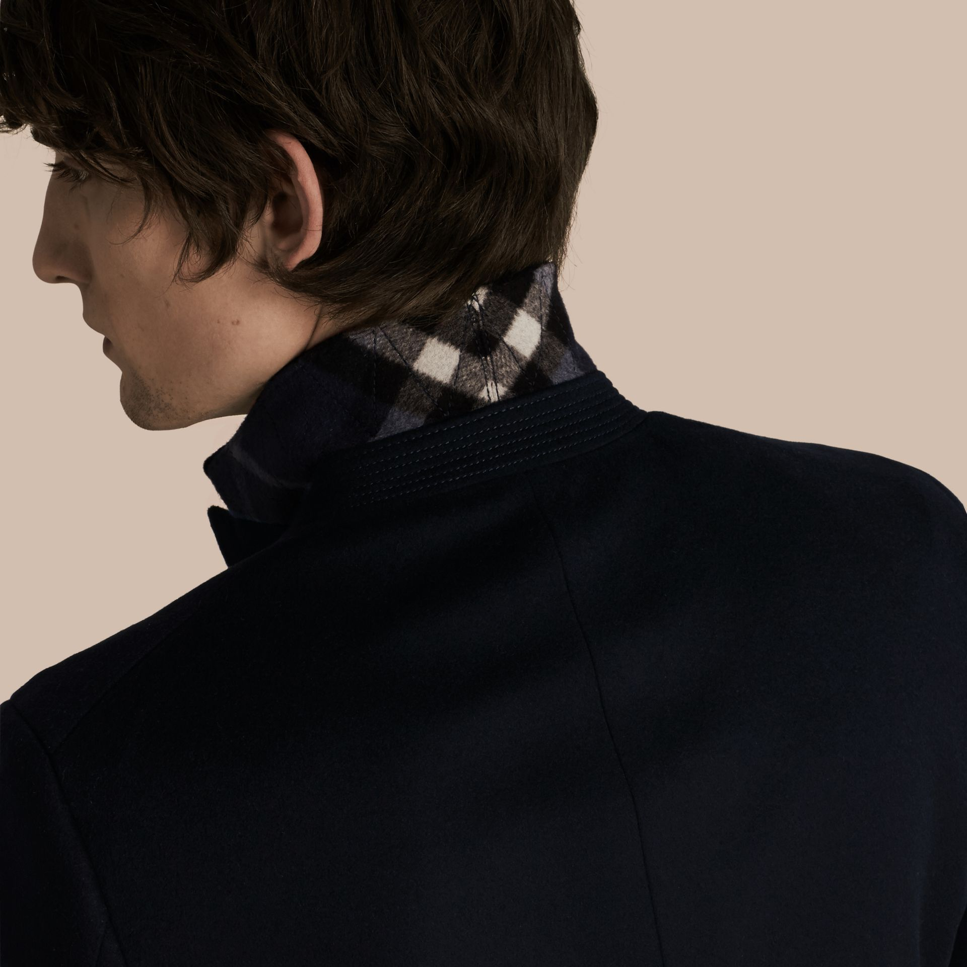 Wool Cashmere Tailored Coat Navy - gallery image 6