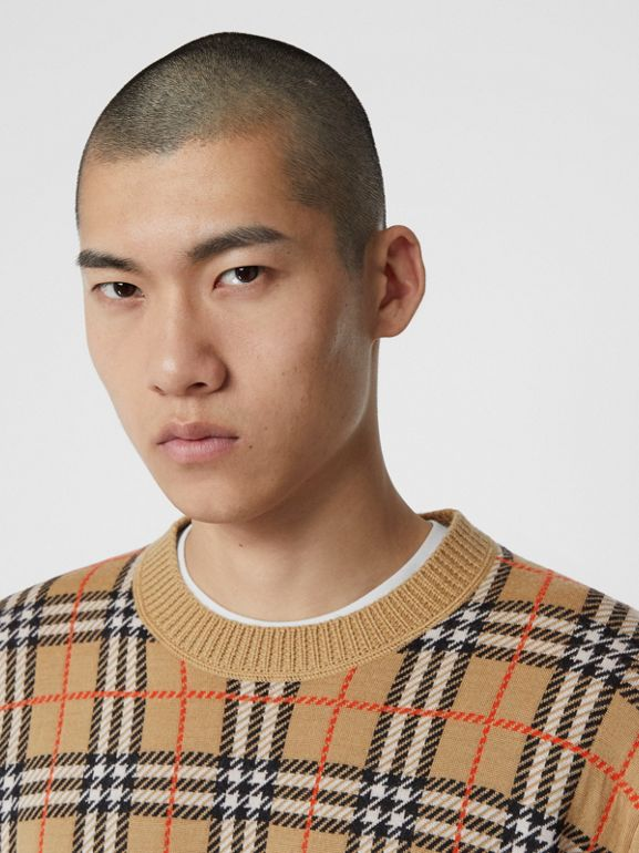 Check Merino Wool Jacquard Sweater in Archive Beige - Men | Burberry United States - cell image 1