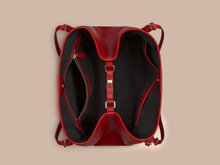 The Small Canter in Horseferry Check and Leather in Honey/parade Red - cell image 4